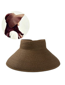 Fashoin Coffee Big Bowknot Decorated No Top Wide Eaves Design  Straw Sun Hats