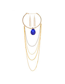 Fashion Sapphire Blue Waterdrop Shape Diamond Decorated Long Tassel Design Alloy Jewelry Sets