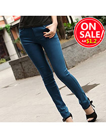 Fashion Navy Blue Candy Color Slim Design Fabric Trousers