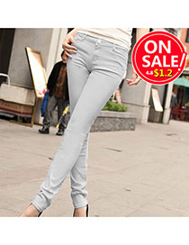 Fashion Light Gray Candy Color Slim Design Fabric Trousers