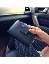 Fashion Black Lettern Patter Decorated Square Shape Design Pu Wallet
