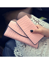 Trendy Pink Alligator Pattern Decorated Long Shape Design Pu Wallet