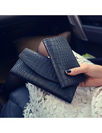 Trendy Black Alligator Pattern Decorated Long Shape Design Pu Wallet