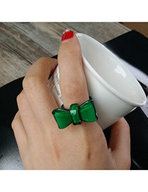 Fashion Green Small Bowknot Decorated Simple Design Resin Korean Rings