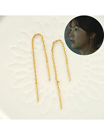Fashion Gold Color Pure Color Chain Design Alloy Korean Earrings