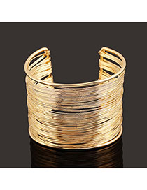 Trending Gold Color Metal Wire Decorated Multilayer Opening Design
