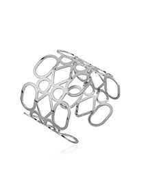 Trending Silver Color Irregular Hollow Out Pattern Opening Design Alloy Fashion Bangles