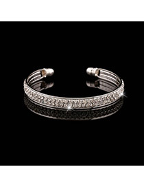 Trending Silver Color Double Layer Diamond Decorated Opening Design Alloy Fashion Bangles