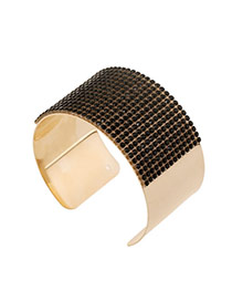 Trending Black Diamond Decorated Wide Openging Design Alloy Fashion Bangles