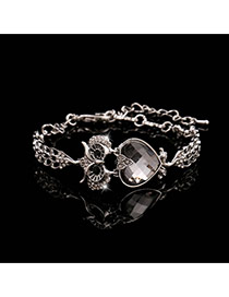 Trending Silver Color+gray Heart Diamond Decorated Owl Design Alloy Korean Fashion Bracelet