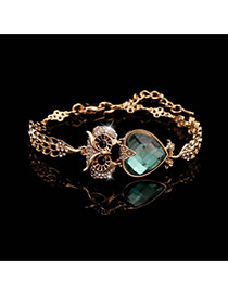 Trending Gold Color+green Heart Diamond Decorated Owl Design Alloy Korean Fashion Bracelet