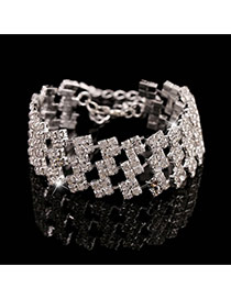 Trending Silver Color Square Diamond Decorated Multilayer Design Alloy Korean Fashion Bracelet