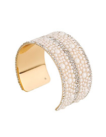 Trending White Beads&diamond Decorated Opening Design Alloy Fashion Bangles