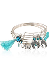Trending Blue Multielement Decorated Multilayer Design Alloy Fashion Bangles