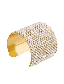 Trending Gold Color Full Beads&diamond Decorated Wide Opening Design Alloy Fashion Bangles