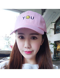 Casual Pink Embroidery Letter You&smile Decorated Pure Color Design Fabric Baseball Caps