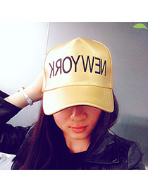 Casual Gold Color Embroidery Letter New York Decorated Pure Color Design Pu Baseball Caps