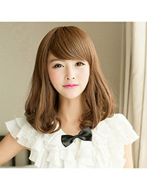 Fashion Light Brown Tilted Bang Rinka Haircut Curly Design