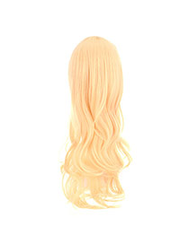 Fashion Light Gold Color Long Curly Design High%2dtemp Fiber Wigs