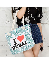 Fashion Green English Letters Pattern Decorated Simple Design Beach Bag