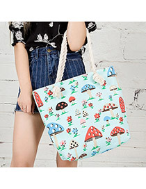 Fashion Light Green Mushroom&flower Pattern Decorated Simple Design Beach Bag