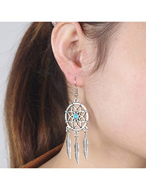 Vintage Silver Color Feather Shape&round Pendant Decorated Simple Design Alloy Korean Earrings