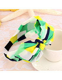 Sweet Yellow+green Geometric Shape Pattern Decorated Double Bowknot Design Fabric Hair band hair hoop