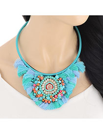 Personality Blue Beads Decorated Tassel Design