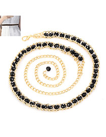 Fashion Black Beads Decorated Chains Weave Design