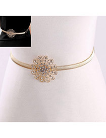 Fashion Gold Color Flower Decorated Simple Design Alloy Thin belts