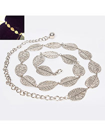 Fashion Silver Color Leaf Decorated Simple Design Alloy Thin belts