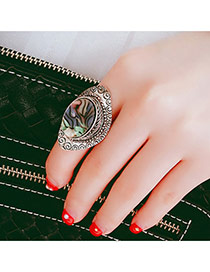 Retro Silver Color Pattern Decorated Oval Shape Design Alloy Korean Rings