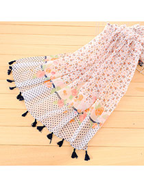 Personality Orange Flower&dot Pattern Decorated Tassel Design Cotton Thin Scaves