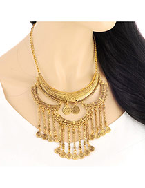 Vintage Gold Color Coins Decorated Tassels Design
