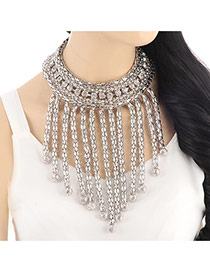 Exaggerate Silver Color Metal Tassel Pendant Decorated Collar Design Alloy Bib Necklaces