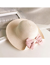 Lovely Pink Bowknot Decorated One Side Fold Design Straw Sun Hats