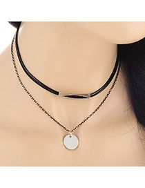 Fashion Silver Color Round Pendant Decorated Double Layer Design Alloy Chokers