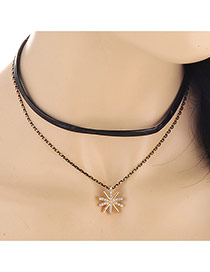 Fashion Gold Color Sunflower Pendant Decorated Dots Descendants Of The Sun Alloy Chokers