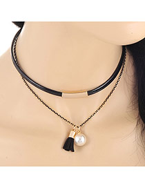 Fashion White Pearl&tassel Pendant Decorated Double Layer Design Alloy Chokers
