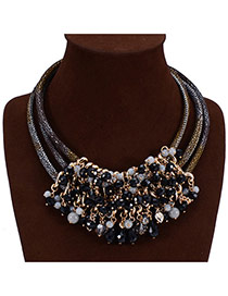 Fashion Black Gem Tassels Decorated Multilayers Design Acrylic Bib Necklaces