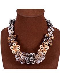 Fashion Multicolor Beads & Diamond Decorated Simple Design Alloy Bib Necklaces