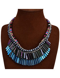 Exaggerate Blue Tassel Pendant Decorated Multilayer Design Crystal Bib Necklaces