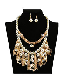 Exaggerate White Square Metal&chain Tassel Pendant Decorated Simple Design Pearl Jewelry Sets