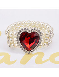 Luxury Red Heart Shape Diamond Decorated Multilayer Design Crystal Korean Fashion Bracelet