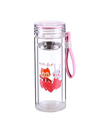 Trendy Pink Wolf&rabbit Pattern Design Dots Descendants Of The Sun(300ml) Glass Household goods