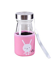 Trendy Pink Rabbit Pattern Decorated Mini Design Dots Descendants Of The Sun(350ml) Glass Household goods