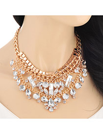 Fashion Gold Color Geometry Diamond Decorated Double Layers Design