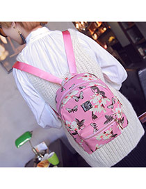 Sweet Pink Butterfly&flower Pattern Decorated Simple Design Pu Backpack