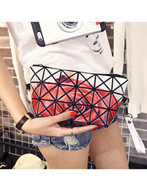 Elegant Red Big Rose Flower Pattern Decorated Geometric Shape Design Pvc Messenger bags