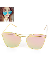 Trendy Pink Metal Decorated Geometric Shape Reflective Design Alloy Women Sunglasses Reviews